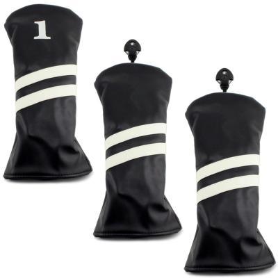 2 Stripe Headcover - 3 Pack - Black