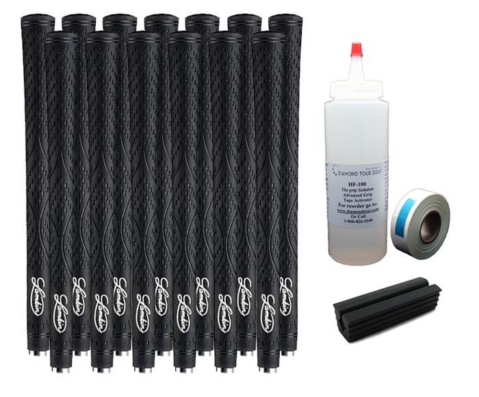 13 Lamkin X10 Undersize/Lady Black Golf Grips - Free Grip Kit