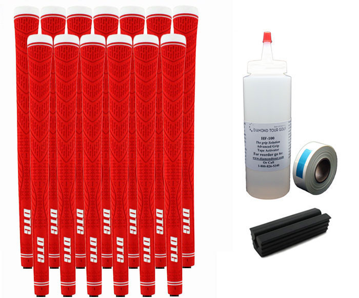 13 DTG Tour Performance Red Golf Grips - Free Grip Kit