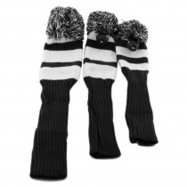 3 Pack Vintage Pom Pom Headcovers Black